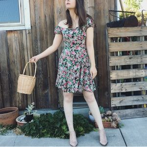 Vintage floral romantic button up mini dress XS/S